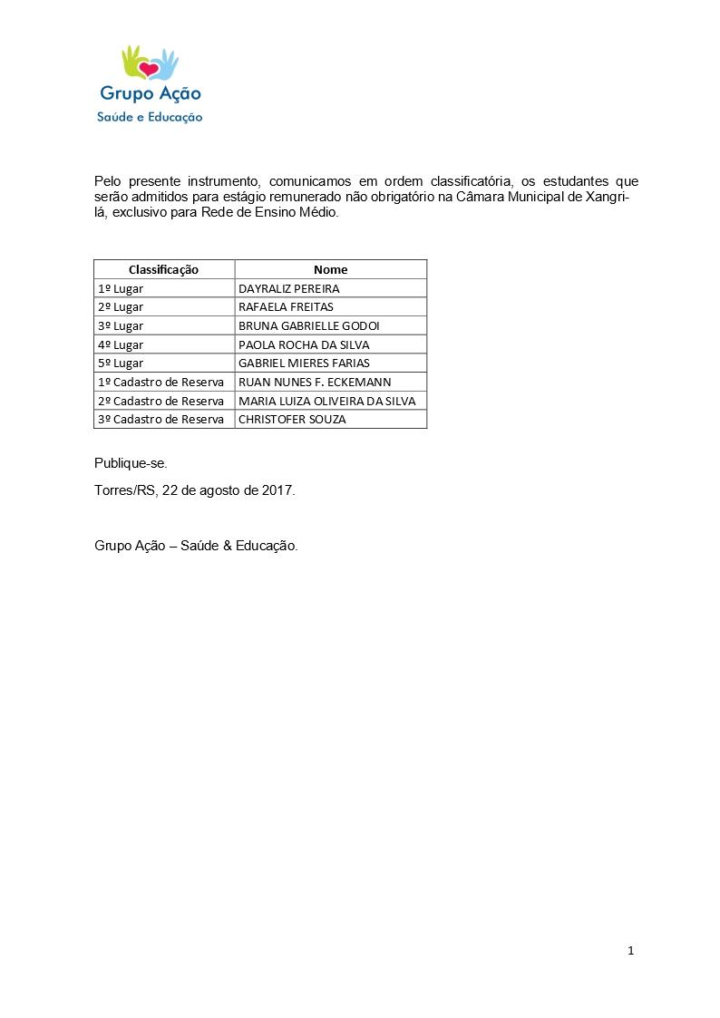 Resultado da classificação para estágio na câmara de Xangri-Lá